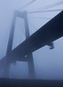 Interstate 310 bridge over the Mississippi shrouded in fog just outside New Orleans.